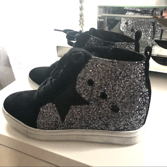 63a74711955 Steve Madden sabotage 7.5 glitter wedge sneakers.  M 5c2a681712cd4a9a34de5817. Other Shoes ...